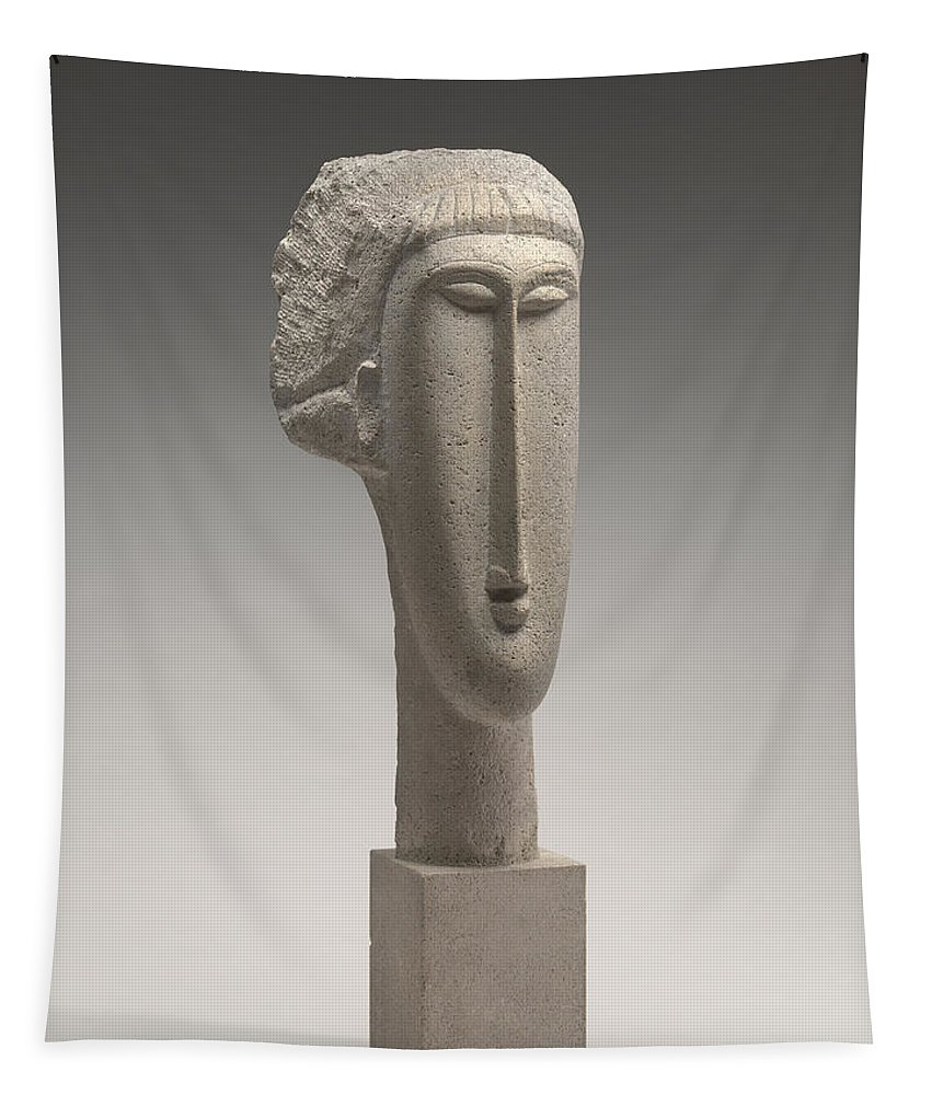 Amedeo Modigliani Tapestry featuring the sculpture Head Of A Woman by Amedeo Modigliani