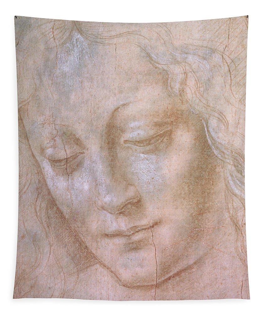 Leonardo Da Vinci Tapestry featuring the drawing Head Of A Woman by Leonardo da Vinci