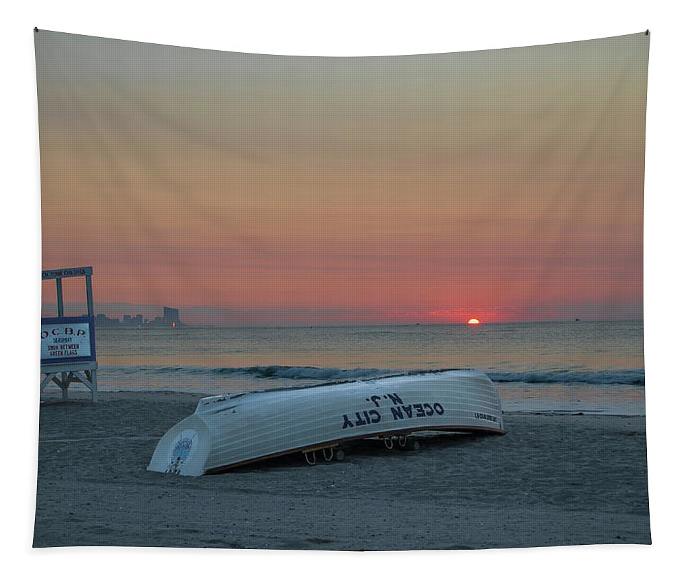 Here Tapestry featuring the photograph Here Comes The Sun - Ocean City New Jersey by Bill Cannon