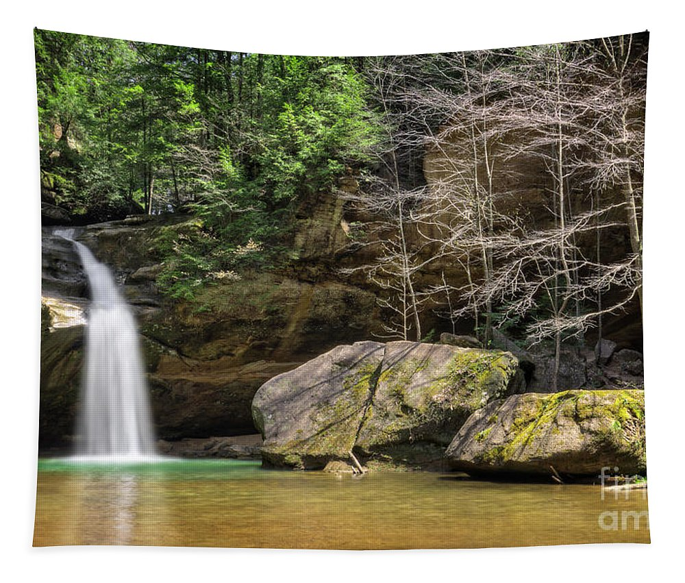 Hocking Hills Tapestry featuring the photograph Hocking Hills Waterfall by Michael Shake