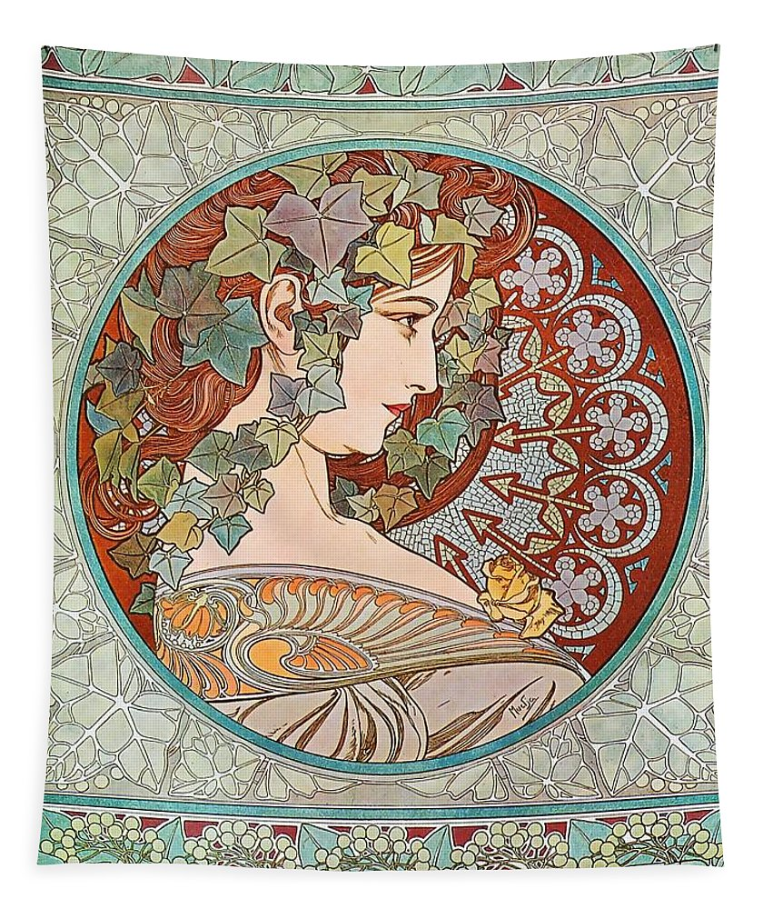 Alphonse Mucha Tapestry featuring the painting Ivy by Alphonse Mucha