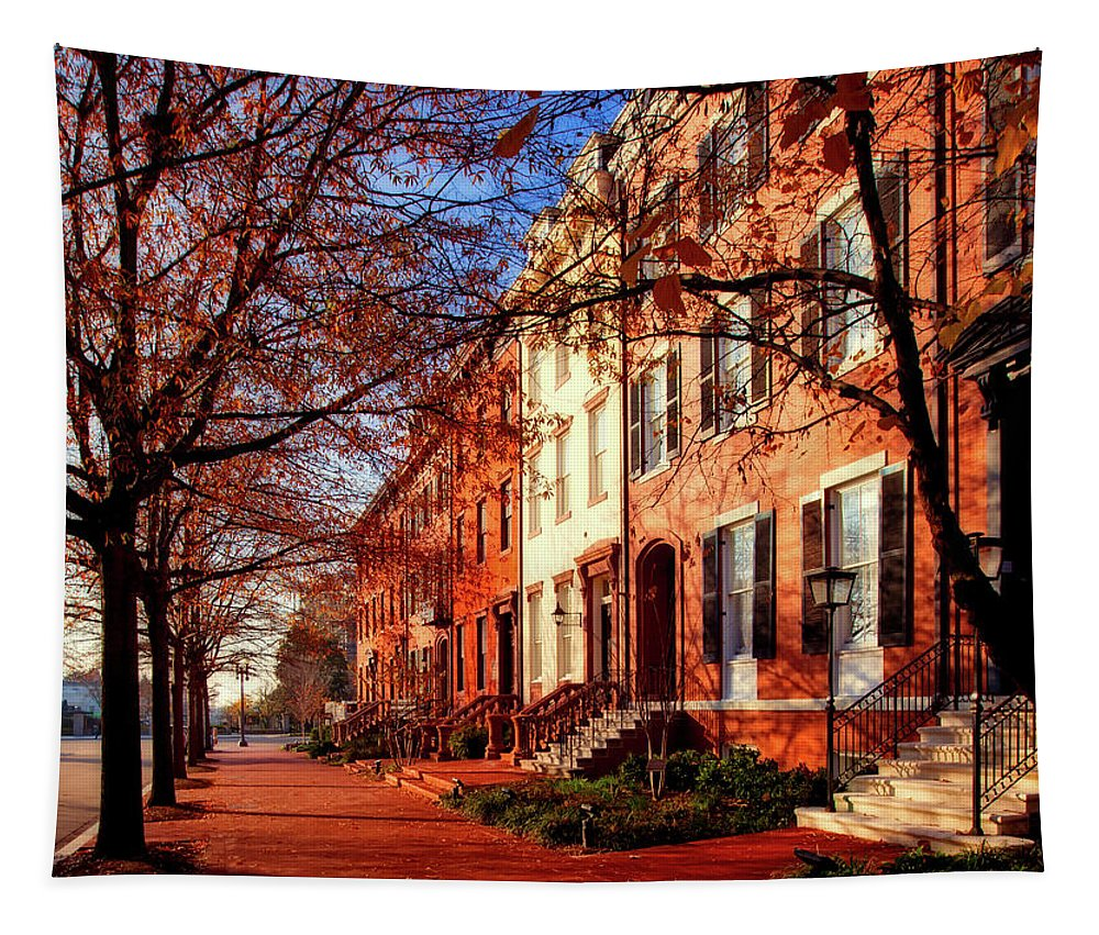 Lafayette Park Tapestry featuring the photograph La Fayette Park In Autumn by Mountain Dreams
