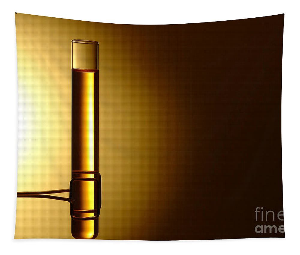 Brass Tapestry featuring the photograph Laboratory Test Tube In Science Research Lab by Olivier Le Queinec