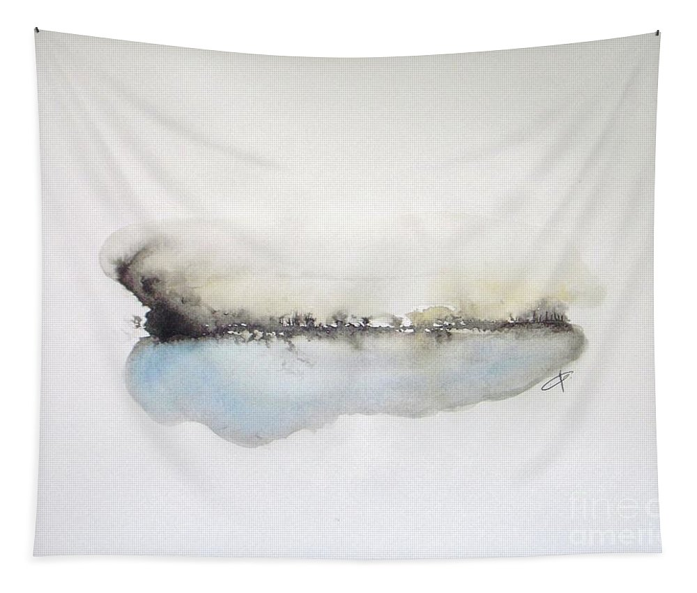 Abstract Landscape Tapestry featuring the painting Lake by Vesna Antic