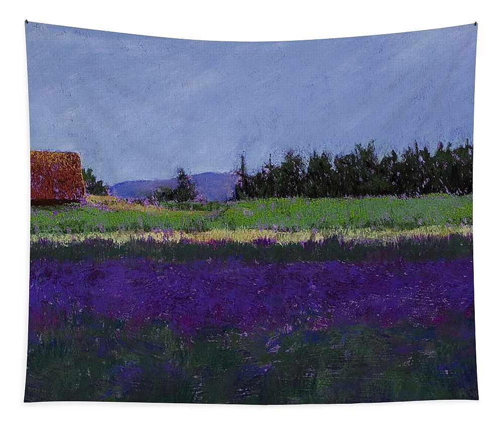 Lavender Farm Tapestry featuring the pastel Lavender Farm by David Patterson