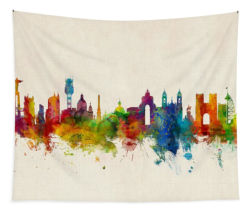 City Tapestry featuring the digital art Lisbon Portugal Skyline by Michael Tompsett