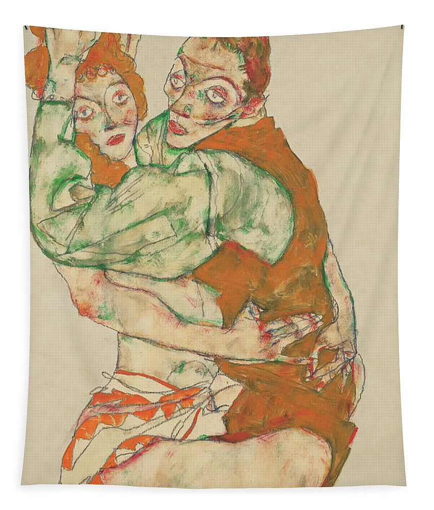 Painting Tapestry featuring the painting Lovemaking by Egon Schiele