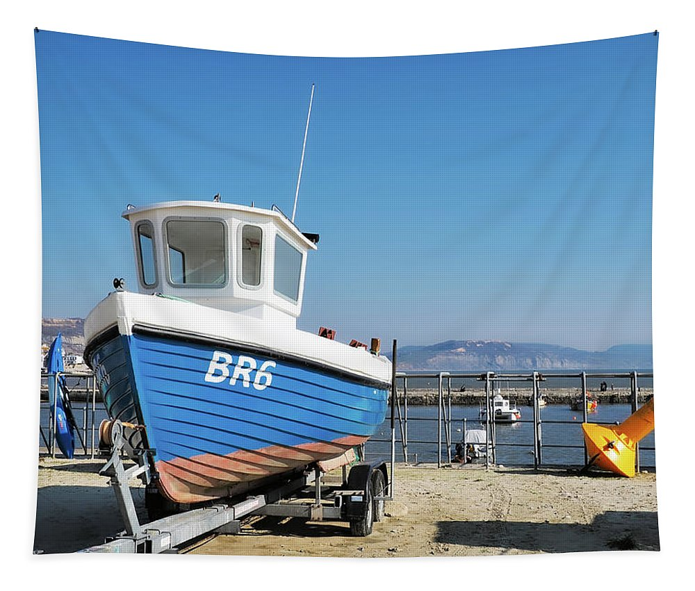 Boat Tapestry featuring the photograph Lyme Regis Harbour by Susie Peek