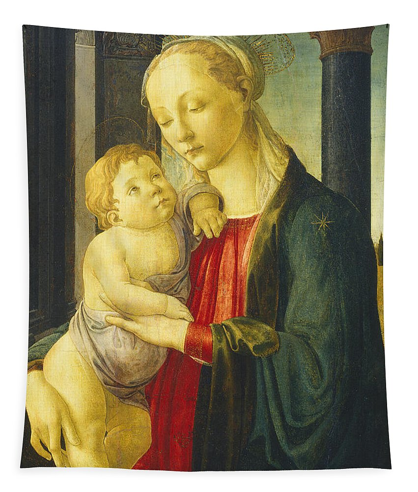 Madonna And Child Tapestry featuring the painting Madonna And Child by Sandro Botticelli