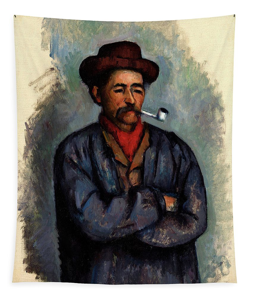 Man With A Pipe Tapestry featuring the painting Man With A Pipe by Paul Cezanne