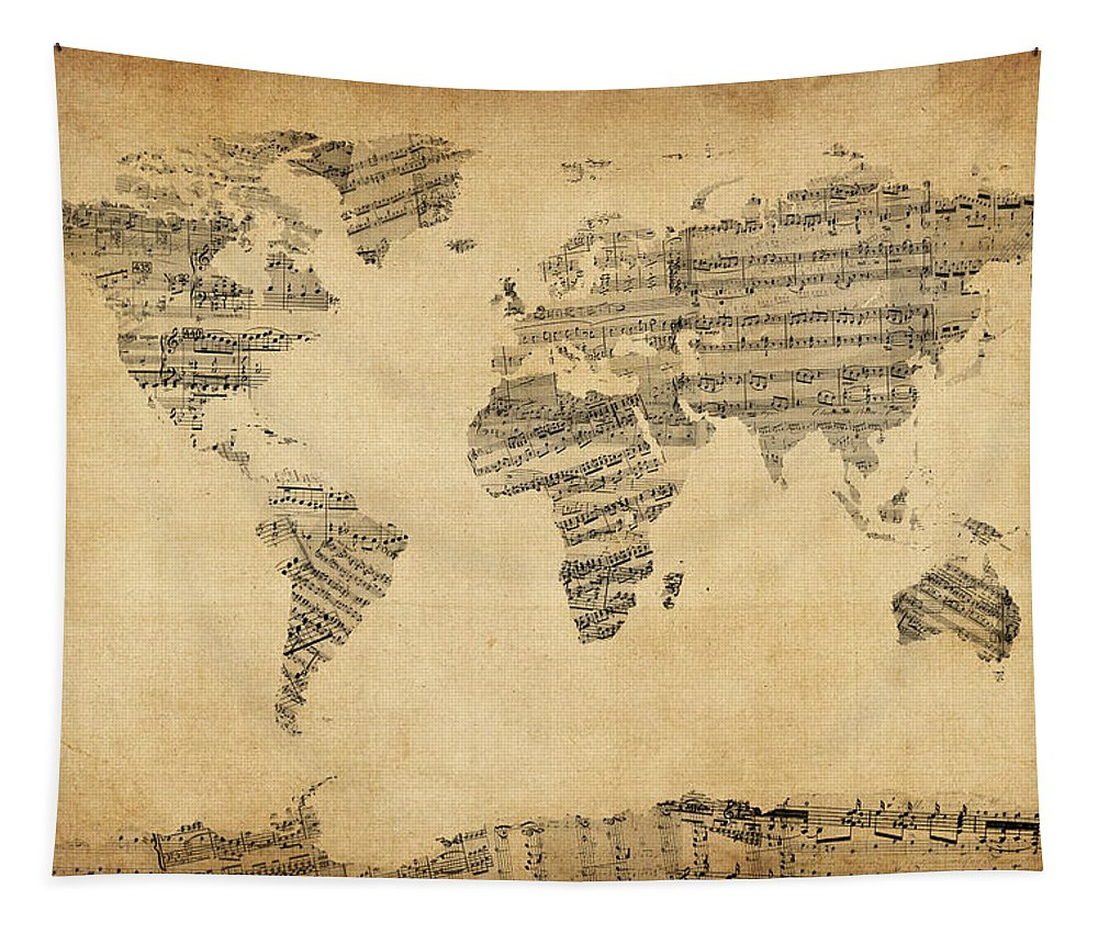 World Map Tapestry featuring the digital art Map Of The World Map From Old Sheet Music by Michael Tompsett