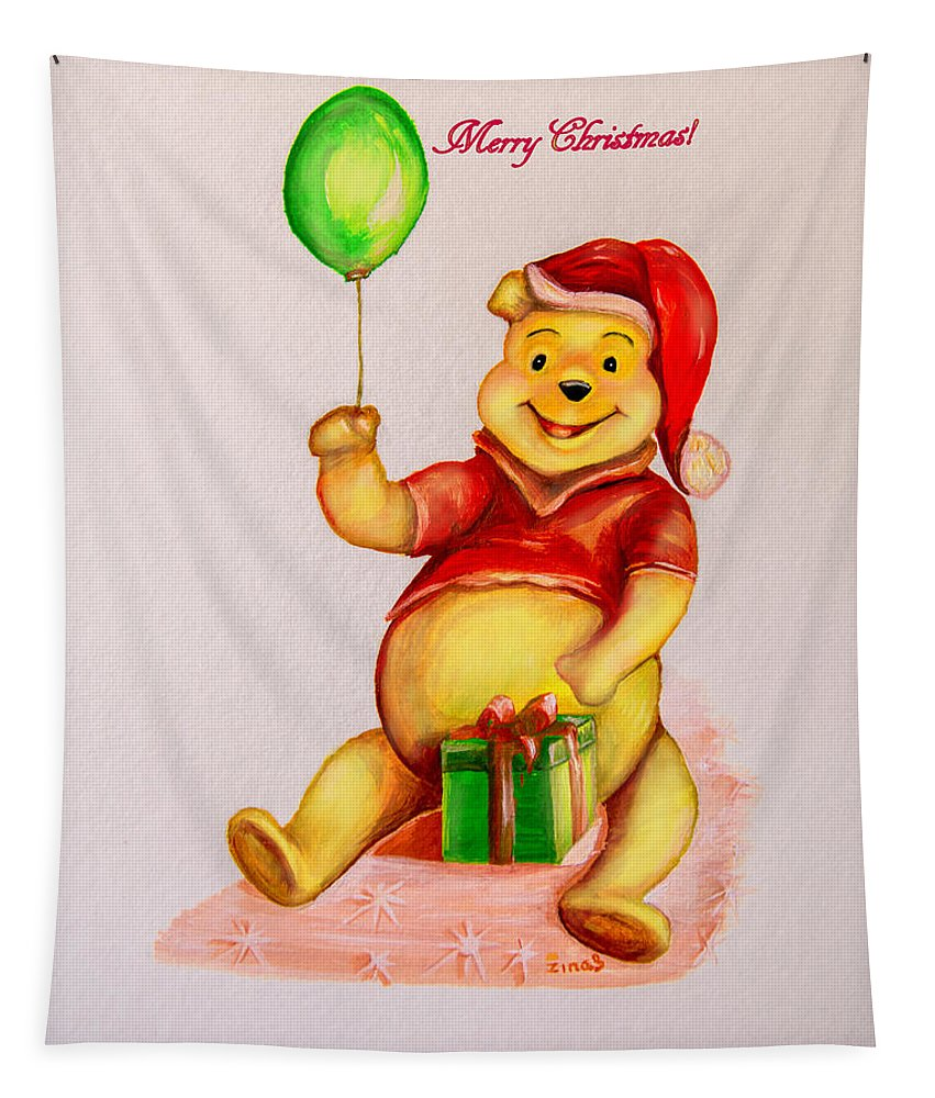 Christmas Tapestry featuring the painting Merry Christmas by Zina Stromberg