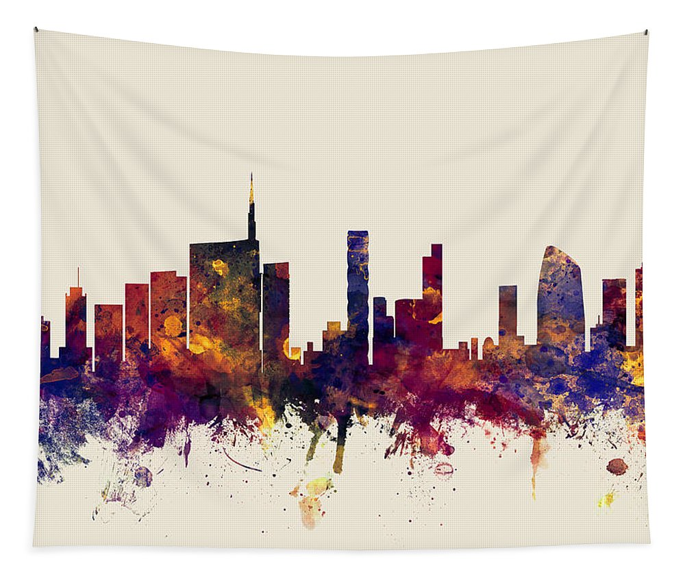 Italy Tapestry featuring the digital art Milan Italy Skyline by Michael Tompsett