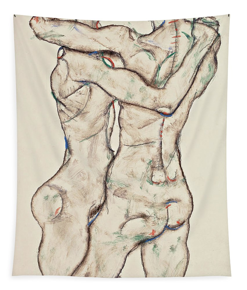 Painting Tapestry featuring the painting Naked Girls Embracing by Egon Schiele