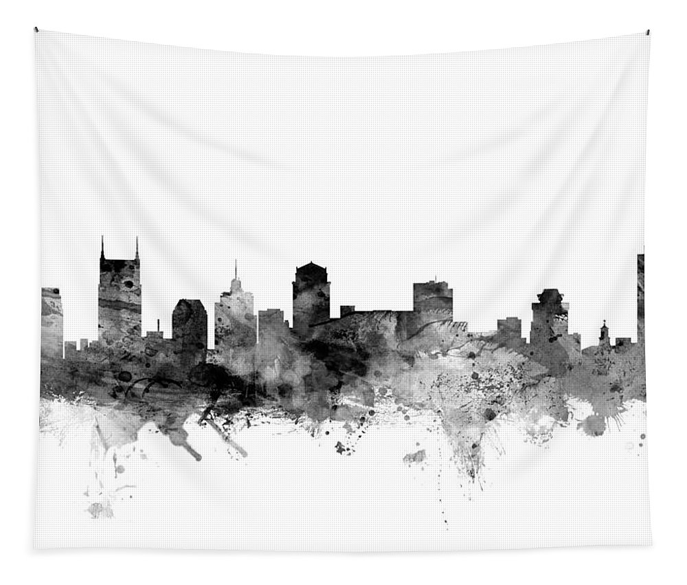 United States Tapestry featuring the digital art Nashville Tennessee Skyline by Michael Tompsett