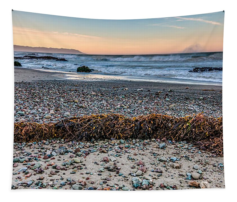 Cayucos Tapestry featuring the photograph Cayucos State Beach Flotsam Pano by Patti Deters