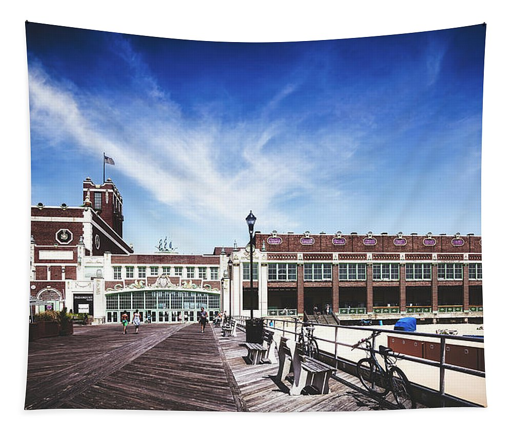 Paramount Theatre Tapestry featuring the photograph Paramount Theatre - Asbury Park Boardwalk by Library Of Congress