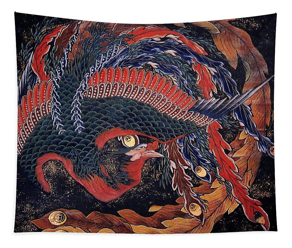 Katsushika Hokusai Tapestry featuring the painting Phoenix by Katsushika Hokusai