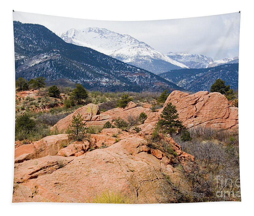Pike National Forest Tapestry featuring the photograph Pikes Peak From Red Rocks Canyon by Steve Krull