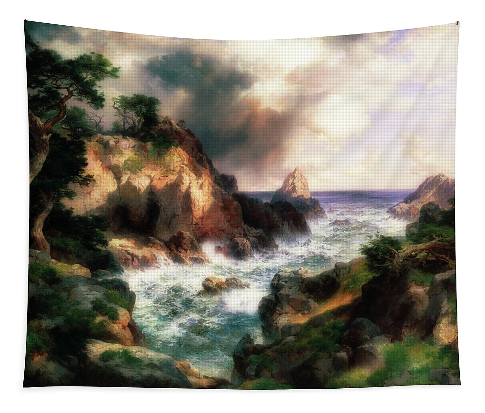 Painting Tapestry featuring the painting Point Lobos, Monterey, California by Thomas Moran