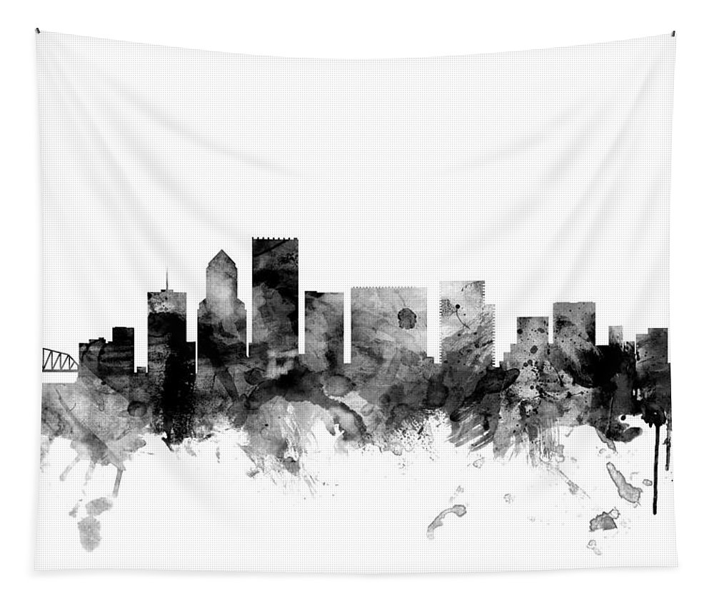 United States Tapestry featuring the digital art Portland Oregon Skyline by Michael Tompsett