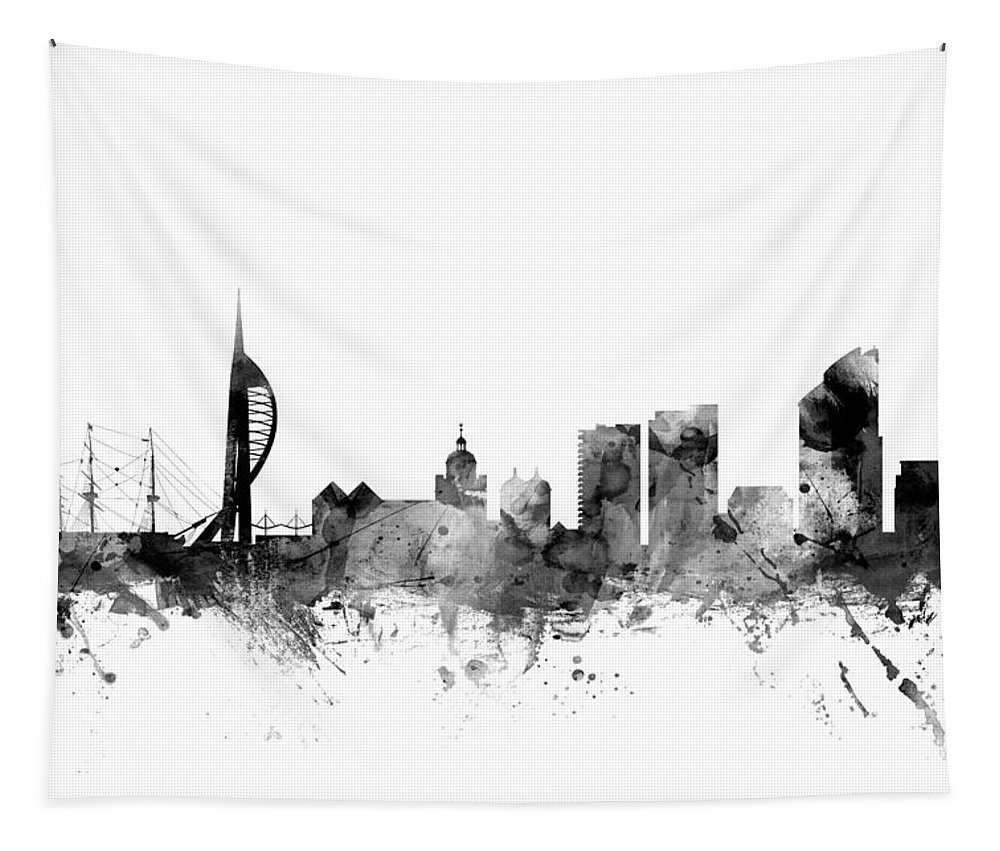 City Tapestry featuring the digital art Portsmouth England Skyline by Michael Tompsett