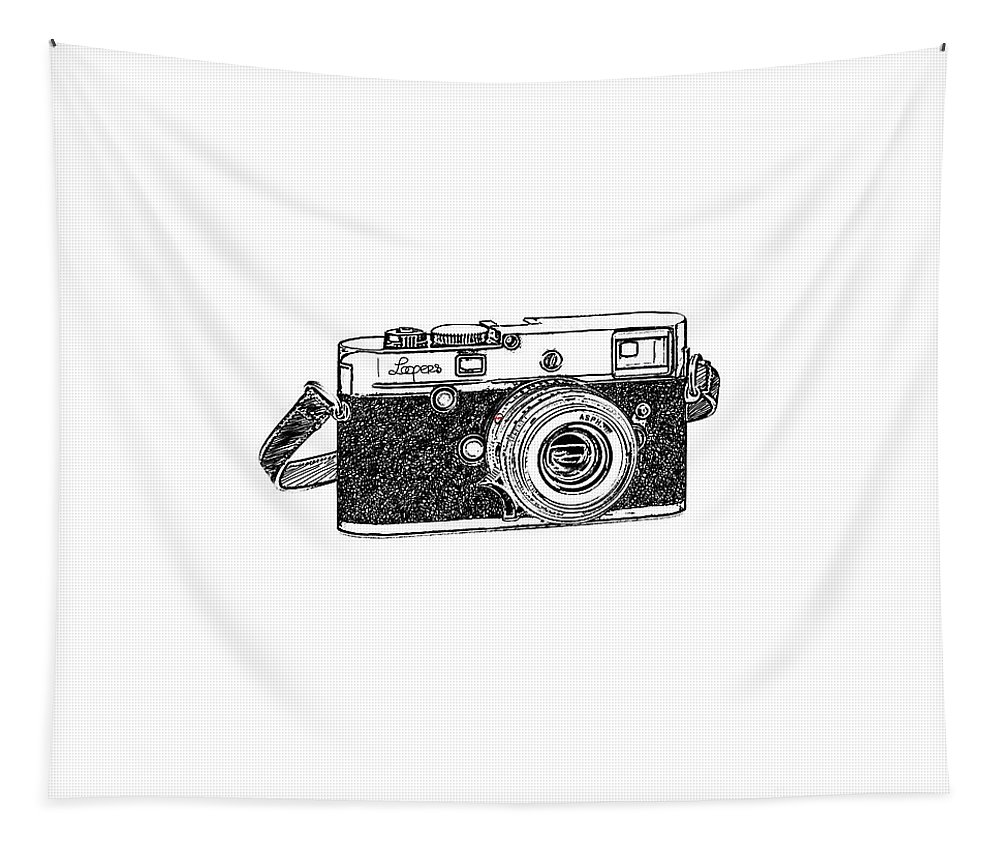 Analog Tapestry featuring the digital art Rangefinder Camera by Setsiri Silapasuwanchai