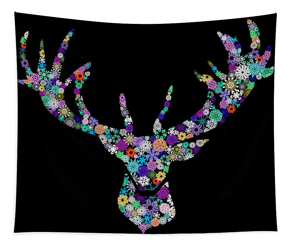 Animal Tapestry featuring the digital art Reindeer Design By Snowflakes by Setsiri Silapasuwanchai