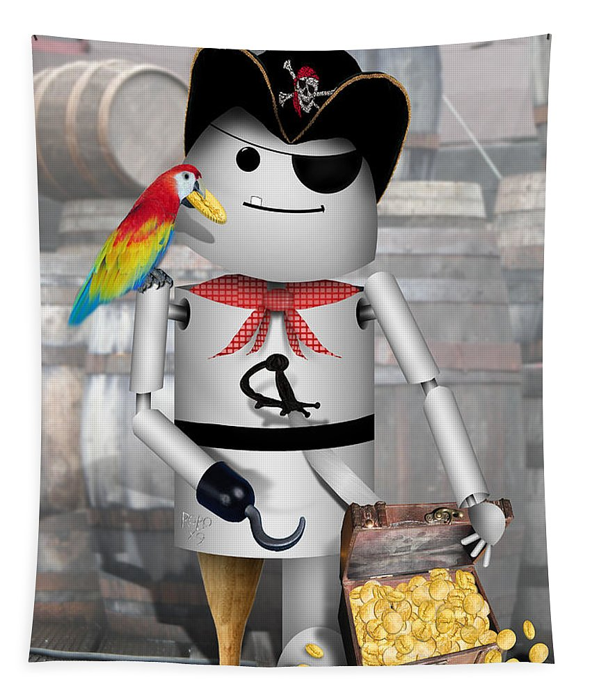 Gravityx9 Tapestry featuring the mixed media Robo-x9 The Pirate 2 by Gravityx9 Designs