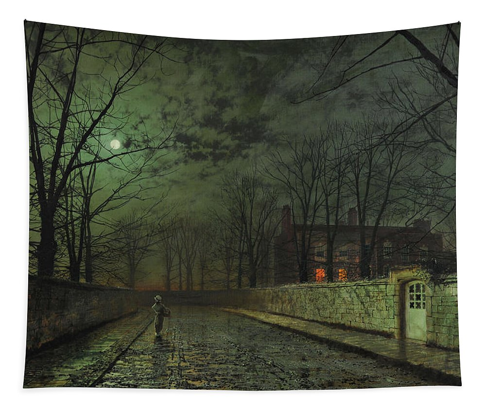 John Atkinson Grimshaw Tapestry featuring the painting Silver Moonlight by John Atkinson Grimshaw