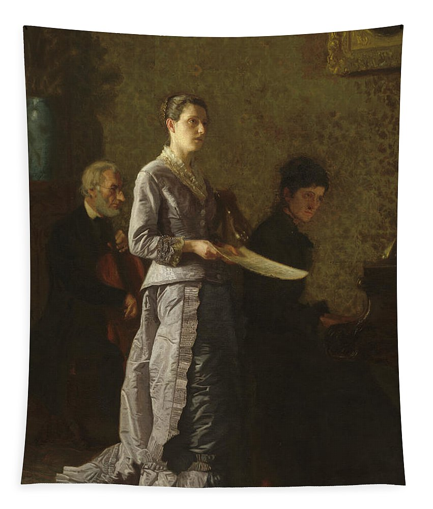 Thomas Eakins Tapestry featuring the painting Singing A Pathetic Song by Thomas Eakins