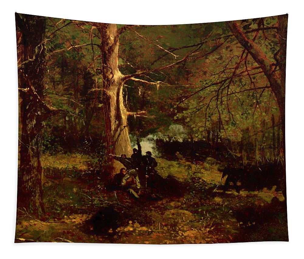 Painting Tapestry featuring the painting Skirmish In The Wilderness by Mountain Dreams