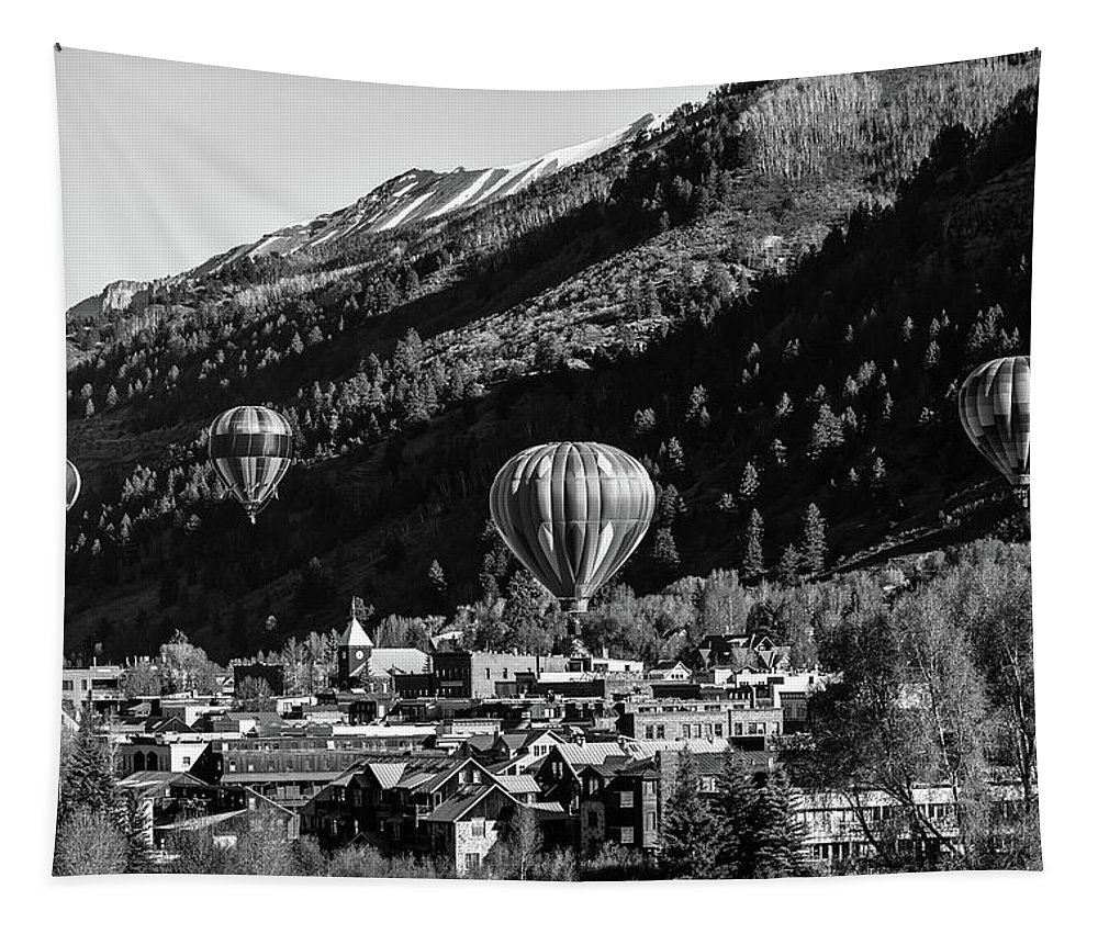 Telluride Tapestry featuring the photograph Telluride Balloon Festival by Mountain Dreams