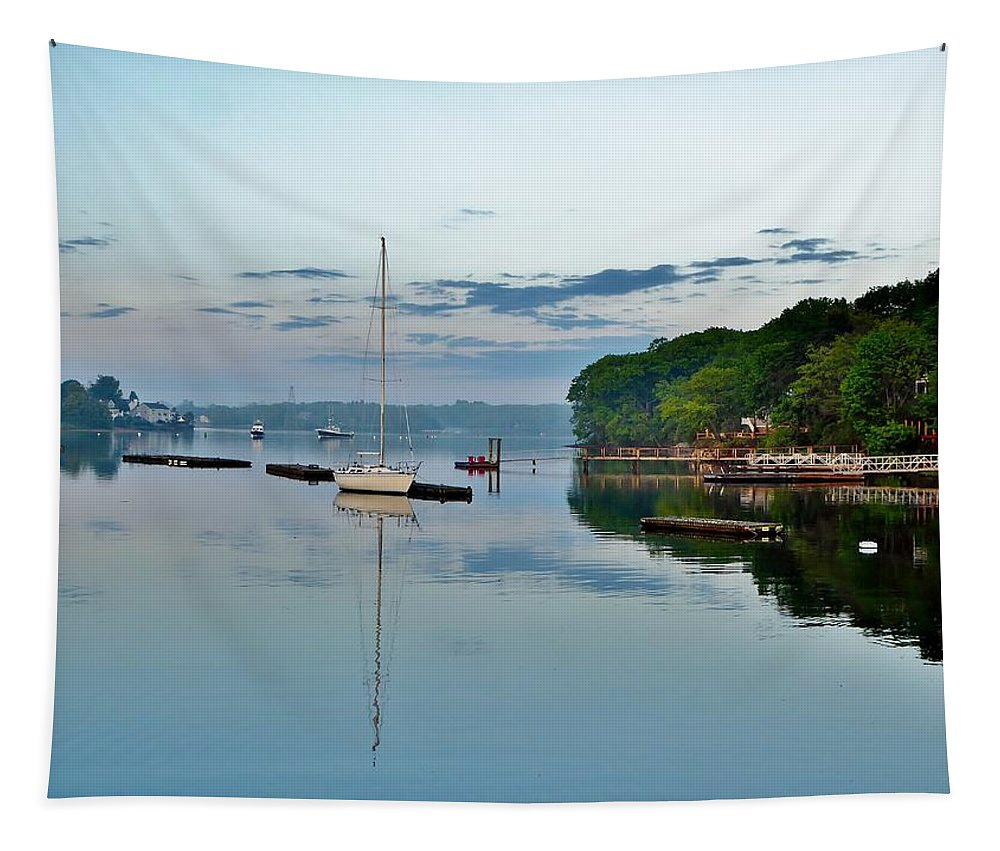 Dawn Tapestry featuring the photograph The Bass River At Dawn, Beverly Ma by Scott Hufford