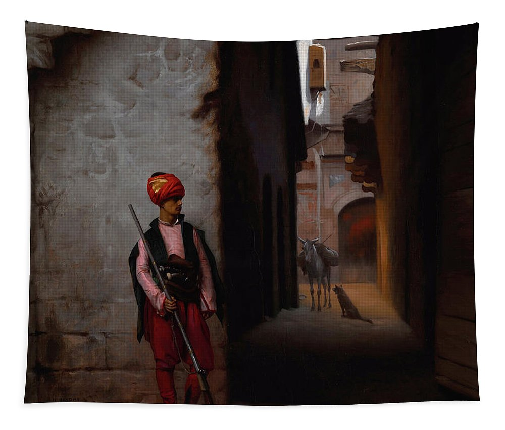 Gerome Jean-leon Tapestry featuring the painting The Guard by Jean-Leon Gerome