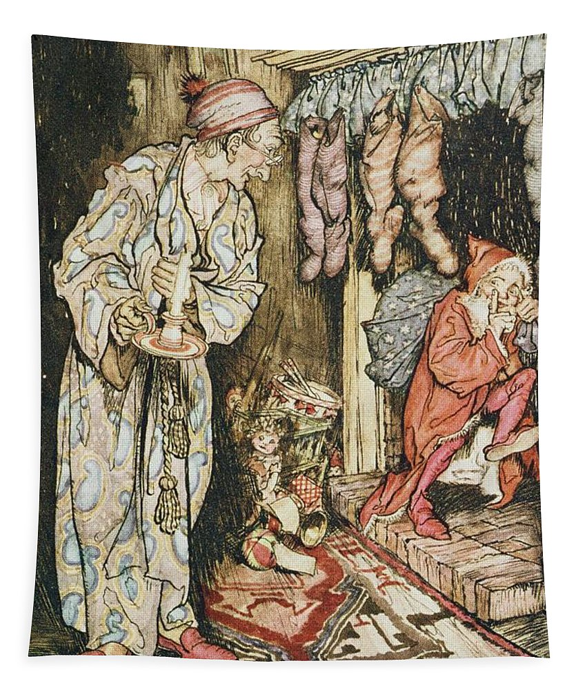 Xmas Tapestry featuring the drawing The Night Before Christmas by Arthur Rackham