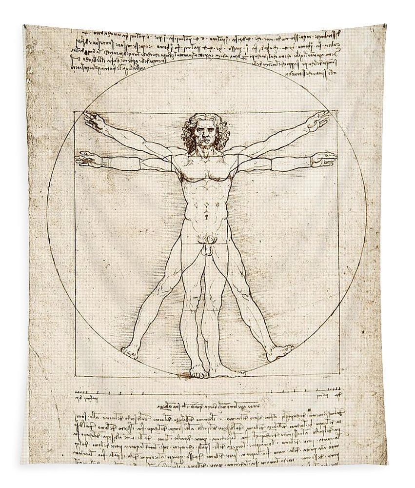 Leonardo Da Vinci Tapestry featuring the painting The Proportions of the human figure by Leonardo Da Vinci