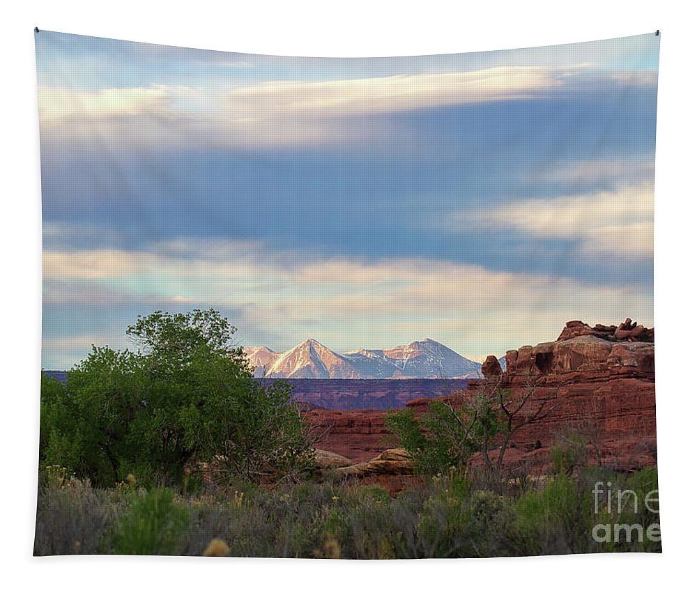 Utah Tapestry featuring the photograph The Shining Mountains by Jim Garrison