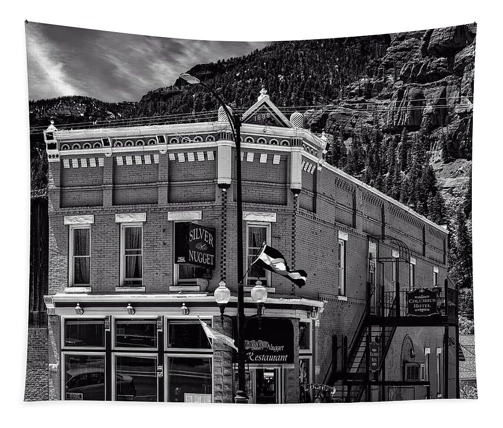 Ouray Tapestry featuring the photograph The Silver Nugget Restaurant by Mountain Dreams