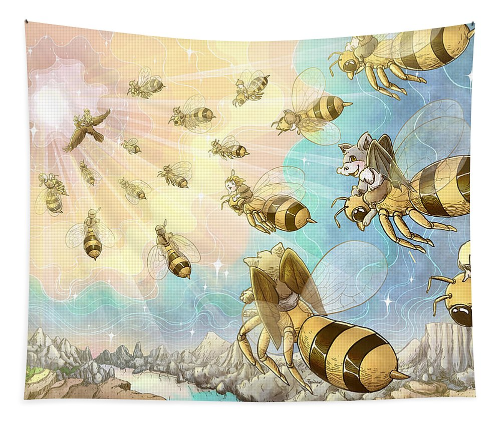 Buffalo Bill And The Pony Express Tapestry featuring the painting The Vortex Of Time And Space by Reynold Jay