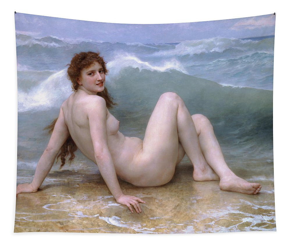 William-adolphe Bouguereau Tapestry featuring the painting The Wave by William-Adolphe Bouguereau