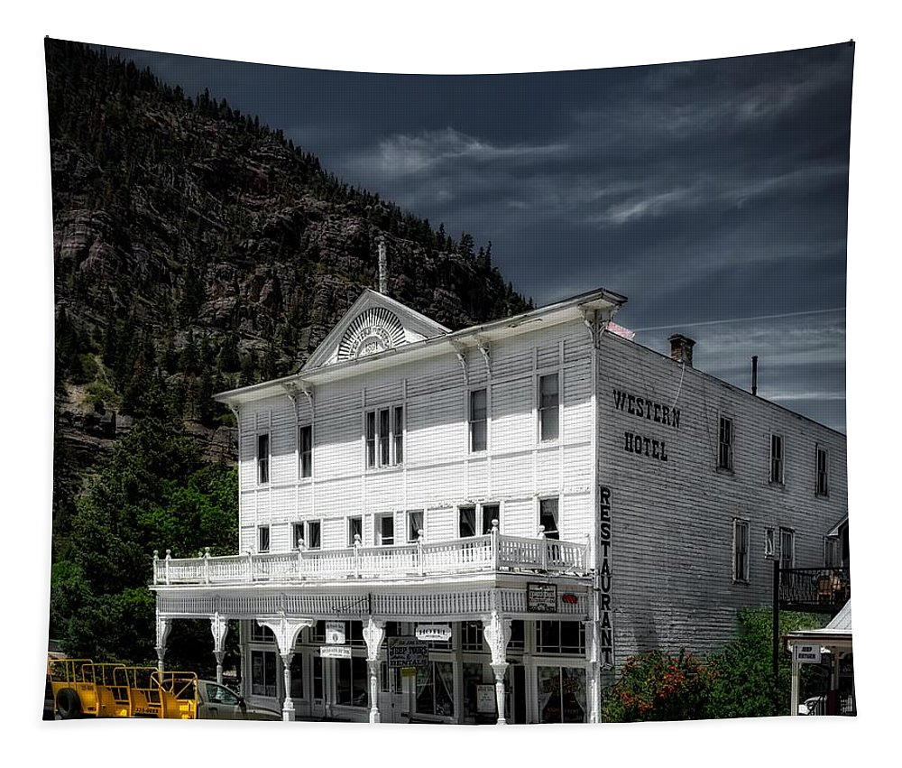Ouray Tapestry featuring the photograph The Western Hotel by Mountain Dreams
