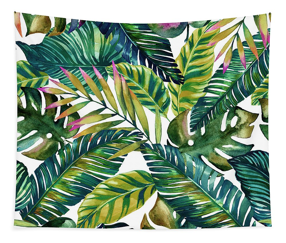 Summer Tapestry featuring the digital art Tropical by Mark Ashkenazi