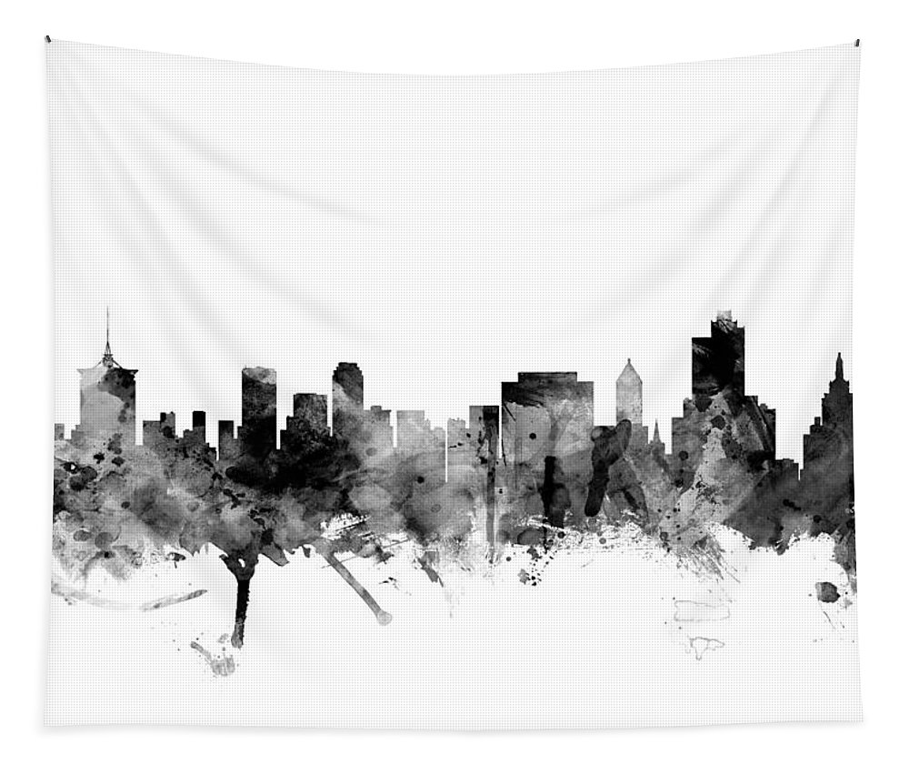 united States Tapestry featuring the digital art Tulsa Oklahoma Skyline by Michael Tompsett