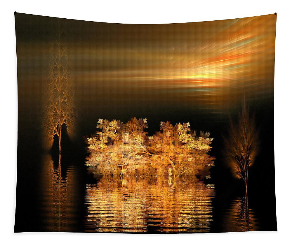 Fractal Tapestry featuring the digital art Twilight On The Bayou by Richard Ortolano