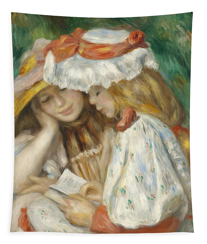 Two Girls Reading Tapestry featuring the painting Two Girls Reading by Pierre Auguste Renoir