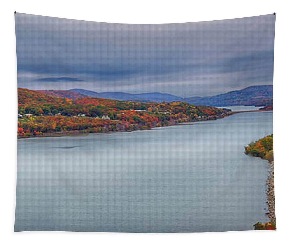 Bear Mountain Tapestry featuring the photograph View From The Bear Mountain Bridge by Eleanor Bortnick