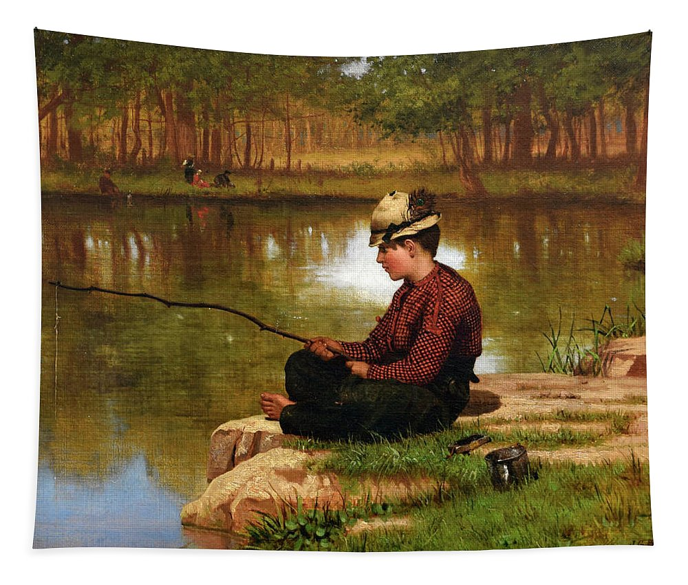 John George Brown Tapestry featuring the painting Waiting For A Bite, Central Park by John George Brown