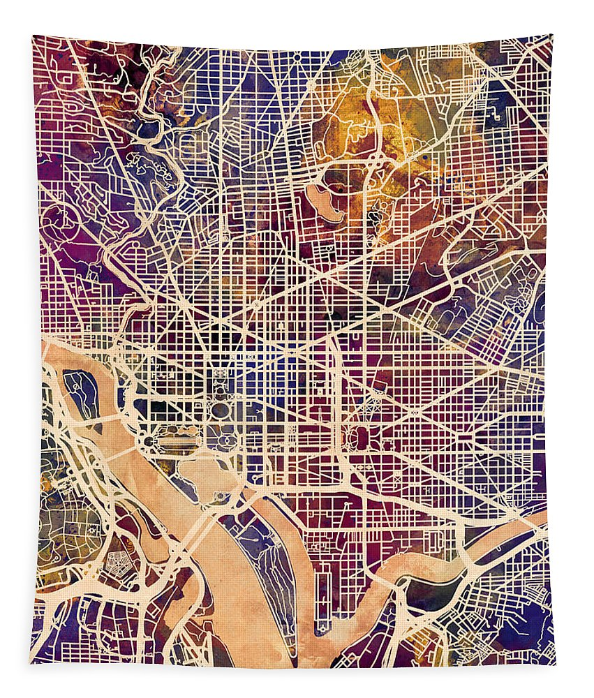Street Map Tapestry featuring the digital art Washington Dc Street Map by Michael Tompsett