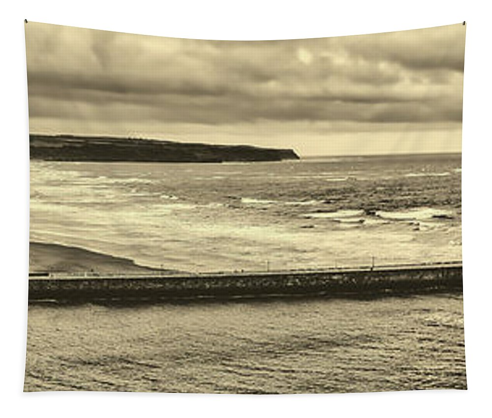 Panorama Tapestry featuring the photograph Whitby Harbor by Pixabay